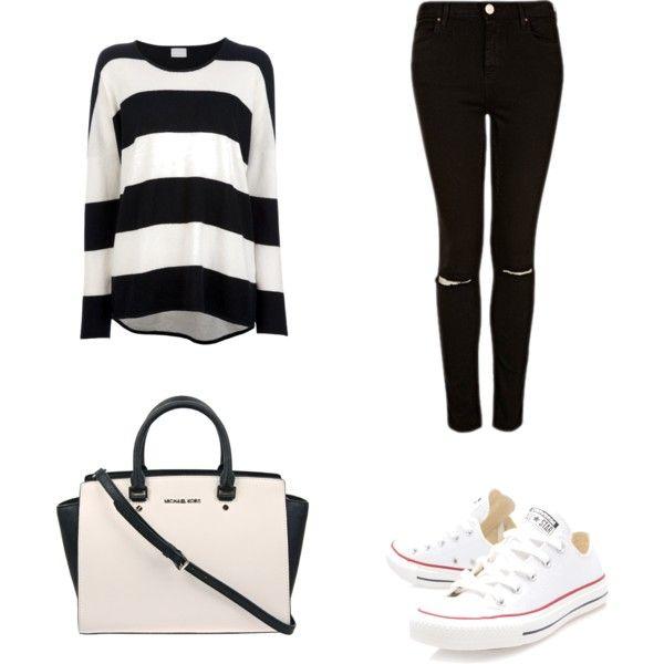 Camiseta rayas + Pantalón negro + Converse blancas + Bolso blanco.