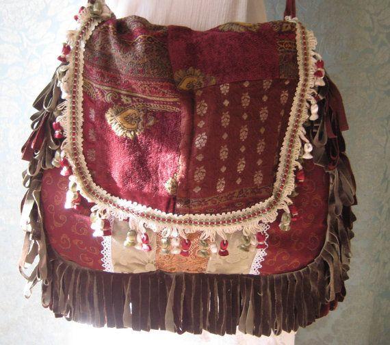 Gypsy Bag and Purse Bohemian Hippie by CatzStitchedFantasy on Etsy