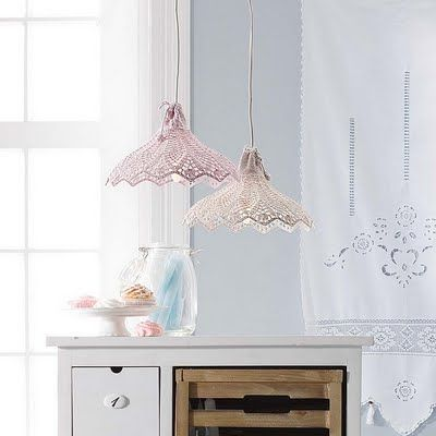 Doily lamp tutorials-its not in English but you get the idea. Very clever!!!