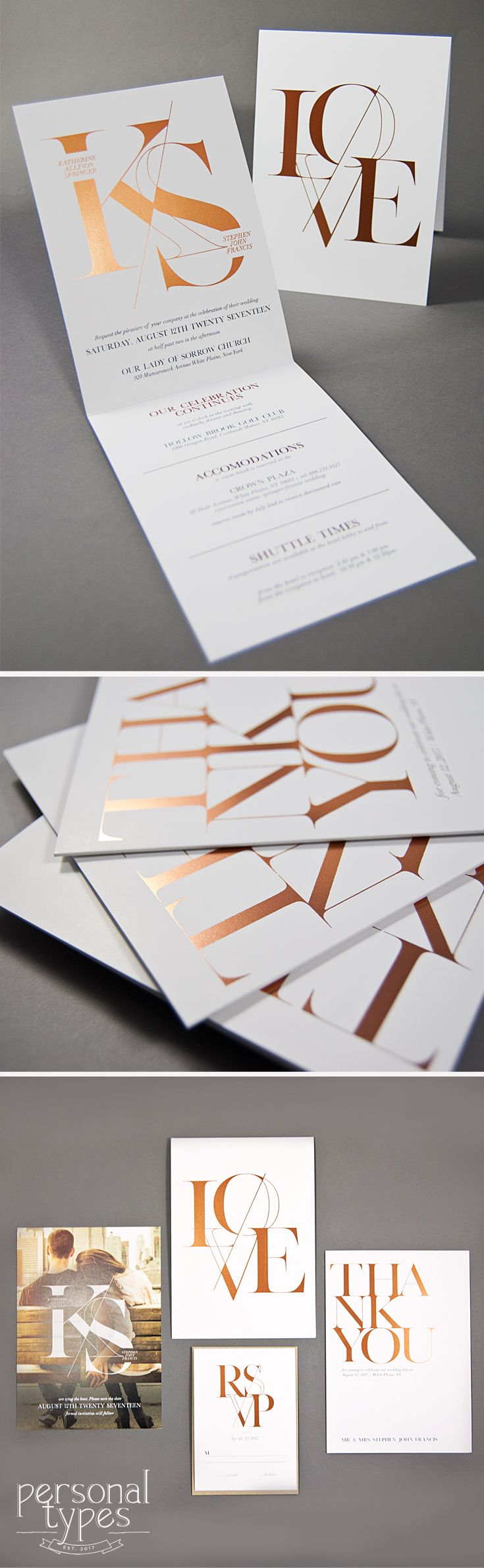 Modern Simple Editorial Type Rose Gold Foil Wedding Invitation #weddings