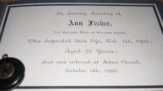 Ancestors At Rest: Funeral Card Ann Fisher 1824-1900 Cheshire England