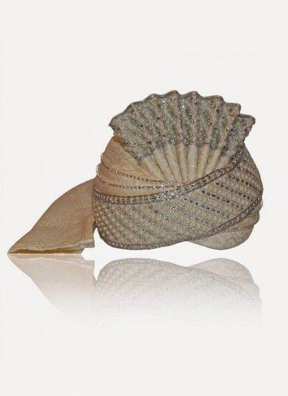 Serene Offwhite Brocade Turban