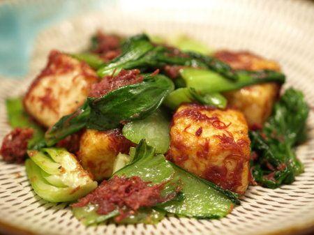 青梗菜と豆腐のコンビーフ