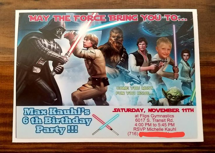 Star wars themed birthday invite my husband & I made... we super imposed our sons face into it !! printed at walmart for only like 50 cents each one !! so cute