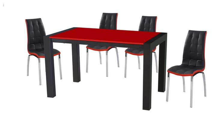 Dining table and chairs Red Black Furniture Sale