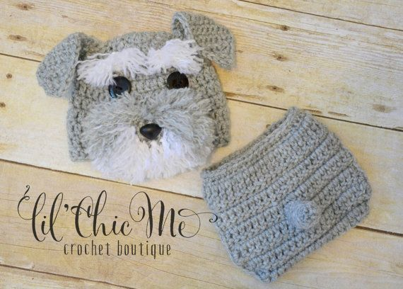 Baby Puppy Hat & Diaper Cover Set/Crochet Schnauzer by lilChicMe