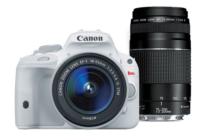 Canon EOS Rebel SL1 EF-S 18-55mm IS STM Kit White & EF 75-300mm f/4-5.6 III Refurbished   Canon Online Store