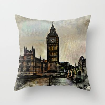 Big Ben Throw Pillow by AngelEowyn. $20.00