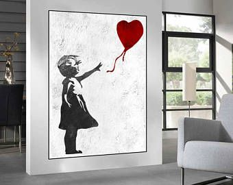 Extra Large Wall Art, Banksy Red Balloon Girl, Large Abstract Painting On  Canvas,