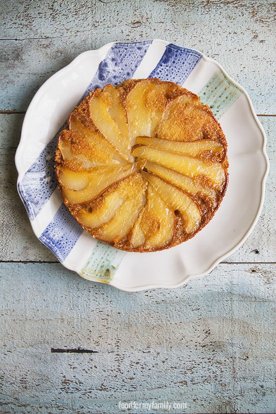 Upside Down Caramelized Pear and Almond Cake