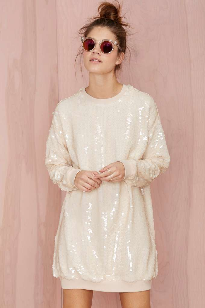 Nasty Gal Glisten Up Sequin Sweatshirt - Nude | Shop Clothes at Nasty Gal