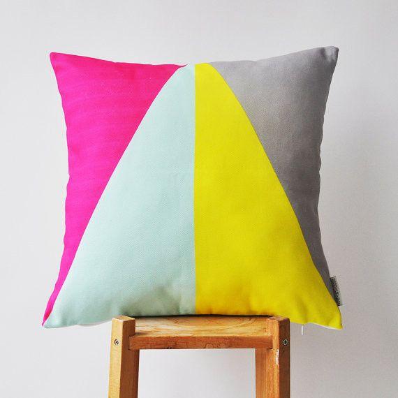 Colorblock Geometric Pillow