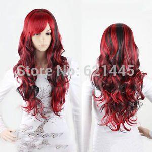 Длинные волосы черный + красный аниме длинные вьющиеся волнистые волосы женщин леди полный парик косплей аниме COS природа волокна Kanekalon на кружева волос парики