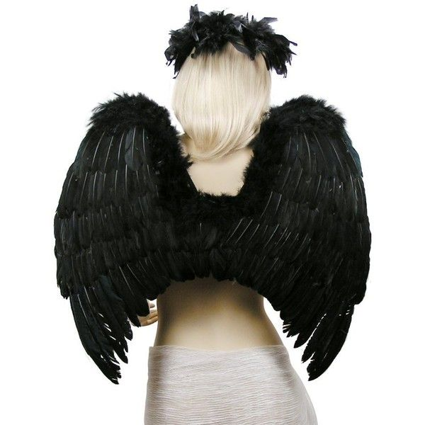 Fashionwings (Tm) Black Costume Feather Wings & Halo For Gothic Fairy... ($31) ❤ liked on Polyvore featuring costumes, role play costumes, gothic costumes, angel halloween costume, fallen angel costume and black angel halloween costume