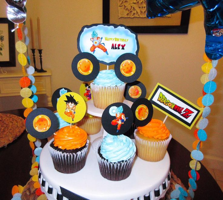 Dragon Ball Z birthday themed theme cupcakes cupcake party ...