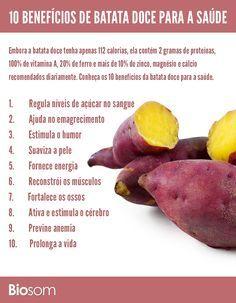 Clique na imagem e veja os 10 benefícios de batata doce para a saúde. #alimento…