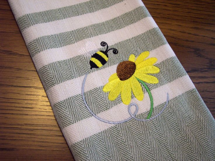 Buzzing Bumble Bee Kitchen Towel By YourWayEmbroidery