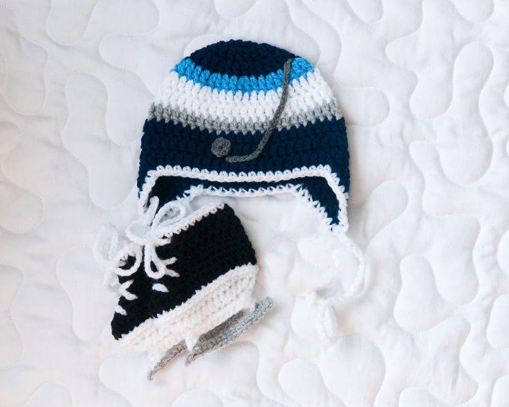 BABY HOCKEY HAT Winnipeg Jets pacifier not included, Crochet Hockey Baby Hat, Hockey Baby Boy, Hockey Baby Knit Hat, Baby Hockey Knit Skates by Grandmabilt on Etsy
