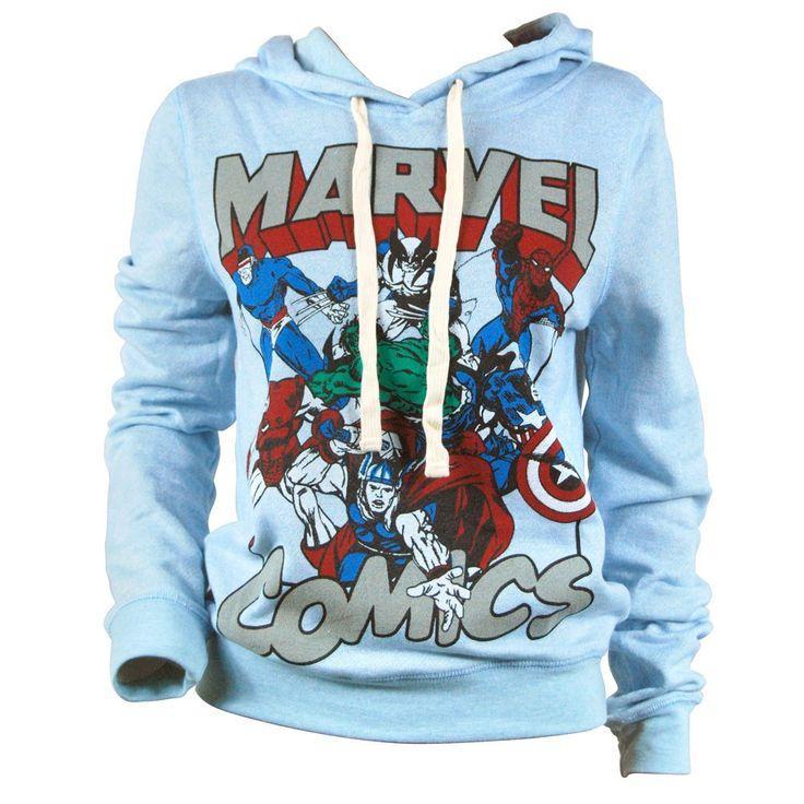 Freeze Womens Marvel Comics Varsity Pull Over Hoodie Blue