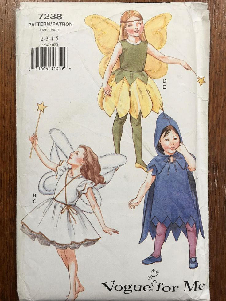 Very Rare, OOP Vogue For Me Costume Pattern 7238. Girls Szs 2;3;4;5 FairyPrincess & Sprite Costumes. Just gorgeous!!! UNCUT by weseatree on Etsy