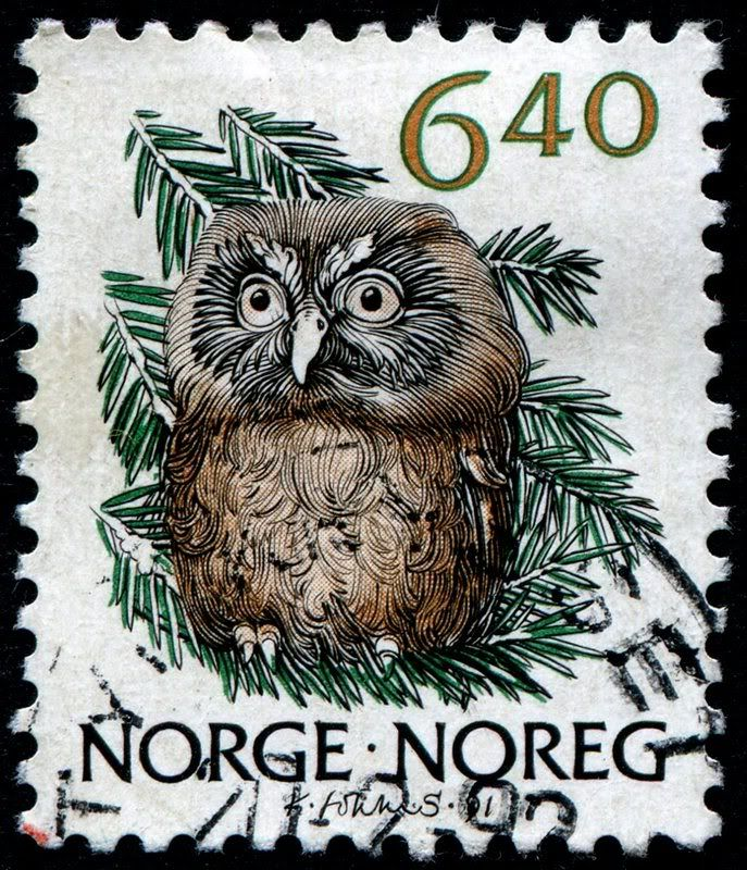 Norway 1991 owl stamp - love the colors on this owl stamp. A nice piece of art.
