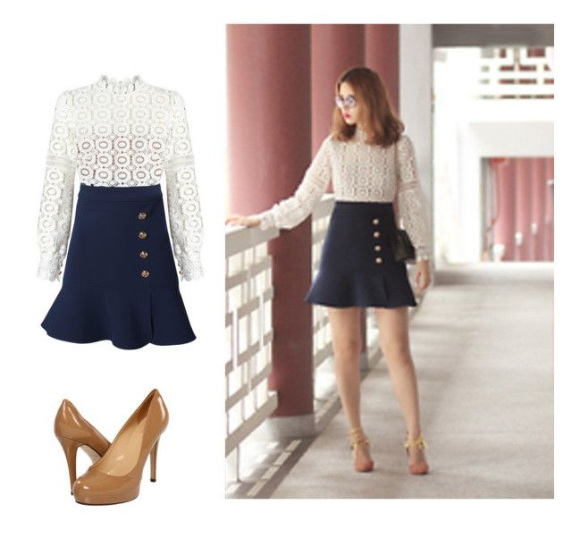 """Navy Trumpet Hem Skirt"" by ejsmash ❤ liked on Polyvore featuring Kate Spade and self-portrait"