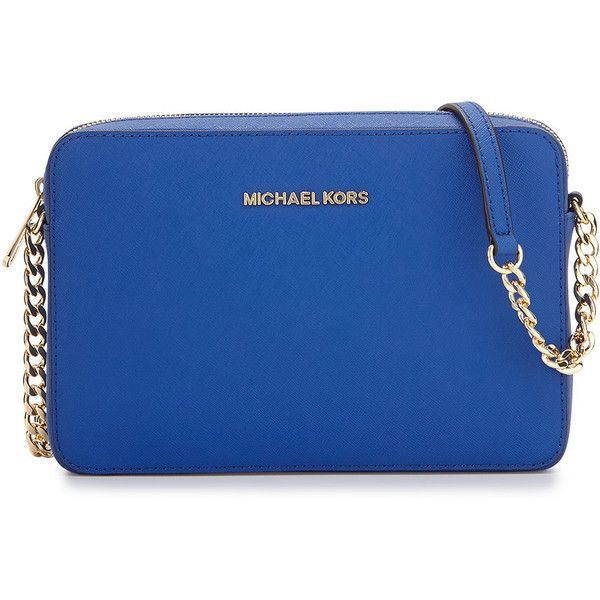 MICHAEL Michael Kors Jet Set Travel Saffiano Crossbody Bag ($148) ❤ liked on Polyvore featuring bags, handbags, shoulder bags, purses, accessories, electric blue, blue handbags, chain shoulder bag, michael michael kors crossbody and crossbody purse