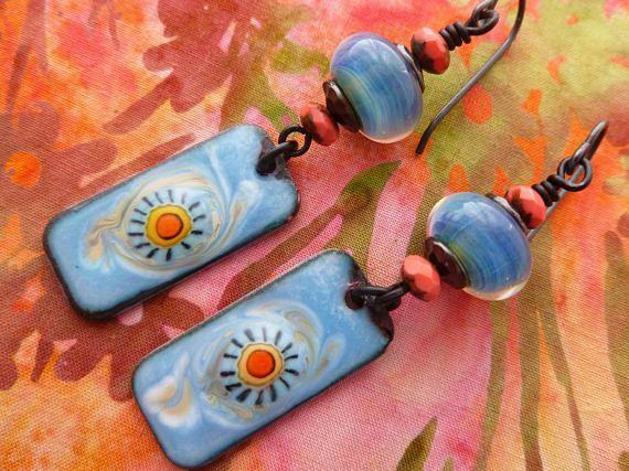 You Are My Sunshine Boho Enamelled Copper Earrings Funky