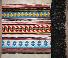 Seminole patchwork shawl made by Susie Cypress from Big Cypress Indian Reservation, c. 1980s