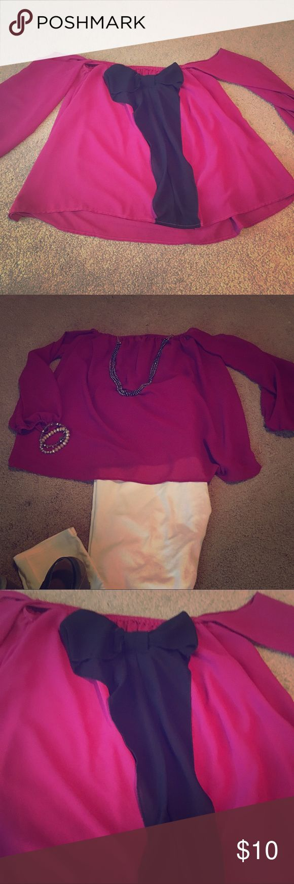 Off shoulder Maroon Bow Back shirt The off the shoulder top is super cute to dress up with white skinnies and heels! The back has a black bow details and the top is a maroonish/pink sheer color. Size small. This top was worn a lot, but still in excellent condition! Offers welcome! Tops