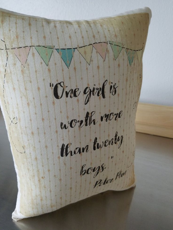 Peter Pan cushion JM Barrie quote pillow baby gift – Sweet Meadow Designs