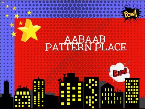 Here's a set of super-hero themed materials for practicing AAB patterns.