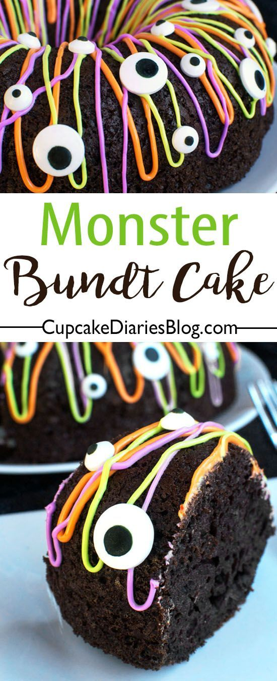 Monster Bundt Cake - what a fun and easy Halloween dessert. Make it for your kid's school party!