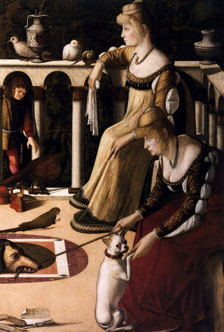 "CARPACCIO."" Due dame veneziane"". Olio su tavola. 94x64 cm. 1490-1495 circa. Museo Correr, Venezia."