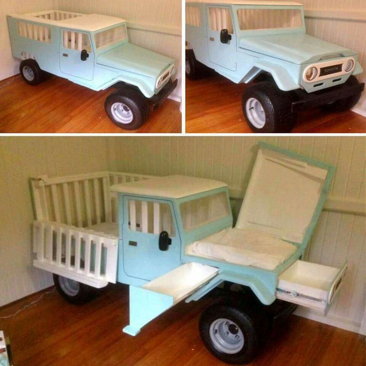 A car crib! With storage and a changing table.
