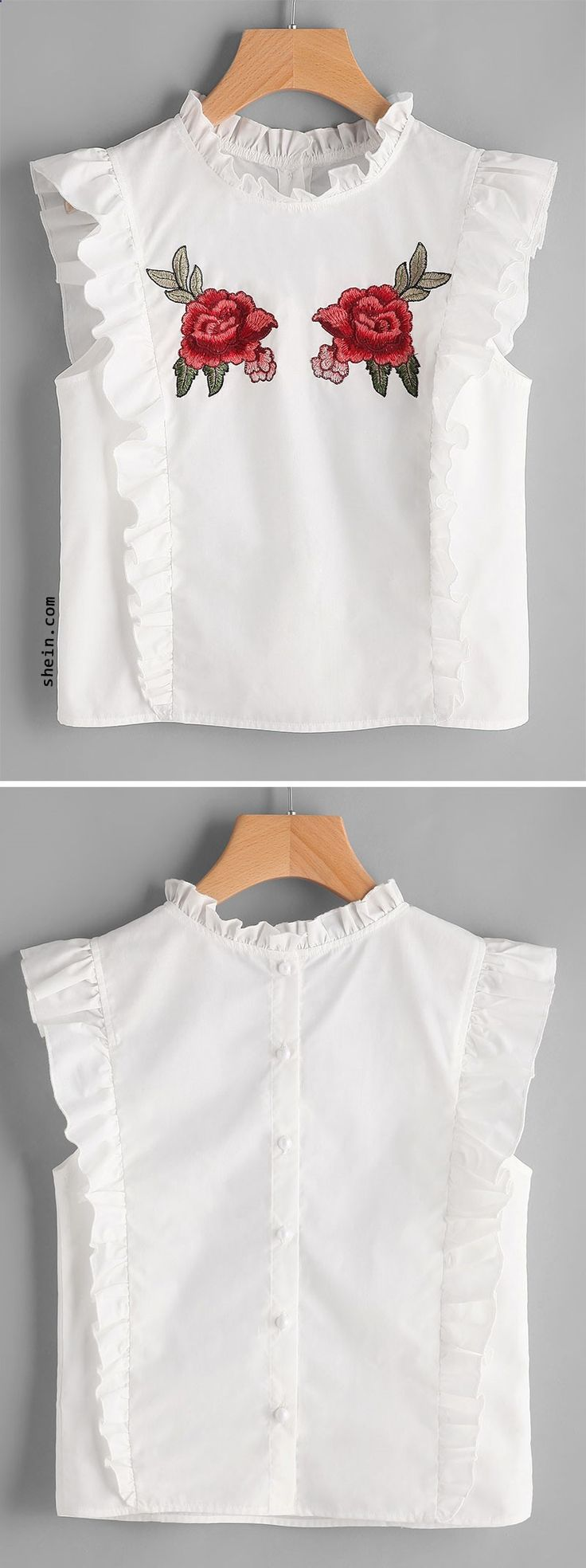 Embroidered Rose Patch Ruffle Detail Button Back Blouse