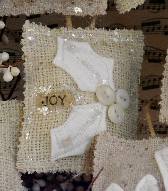 French Country burlap Christmas ornaments PDF by Hudsonsholidays