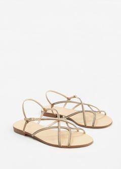 Strap rhinestone sandals -  Women   MANGO USA