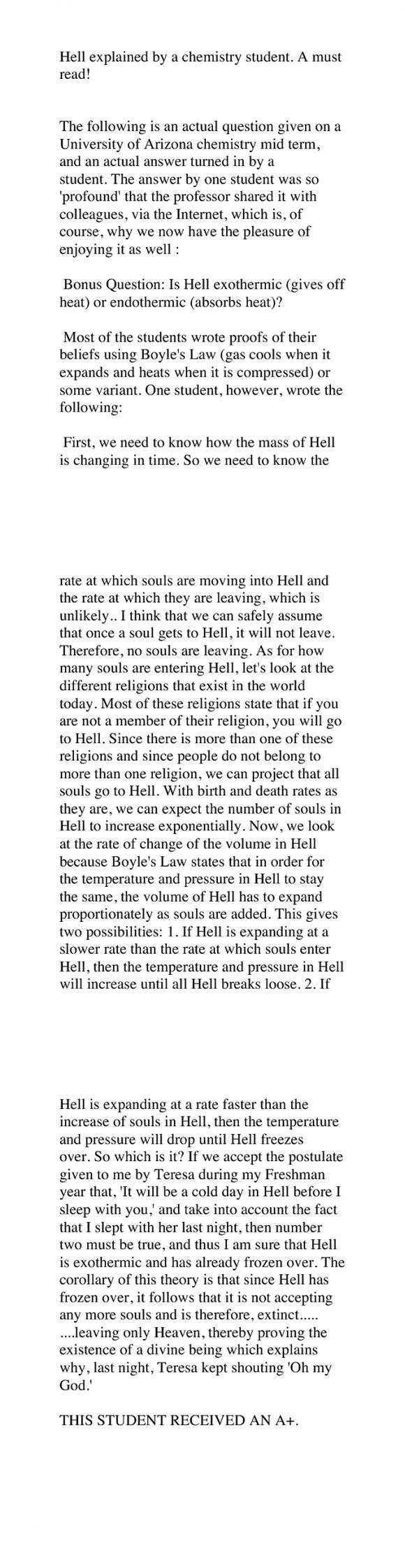 Hell: Exothermic or Endothermic?