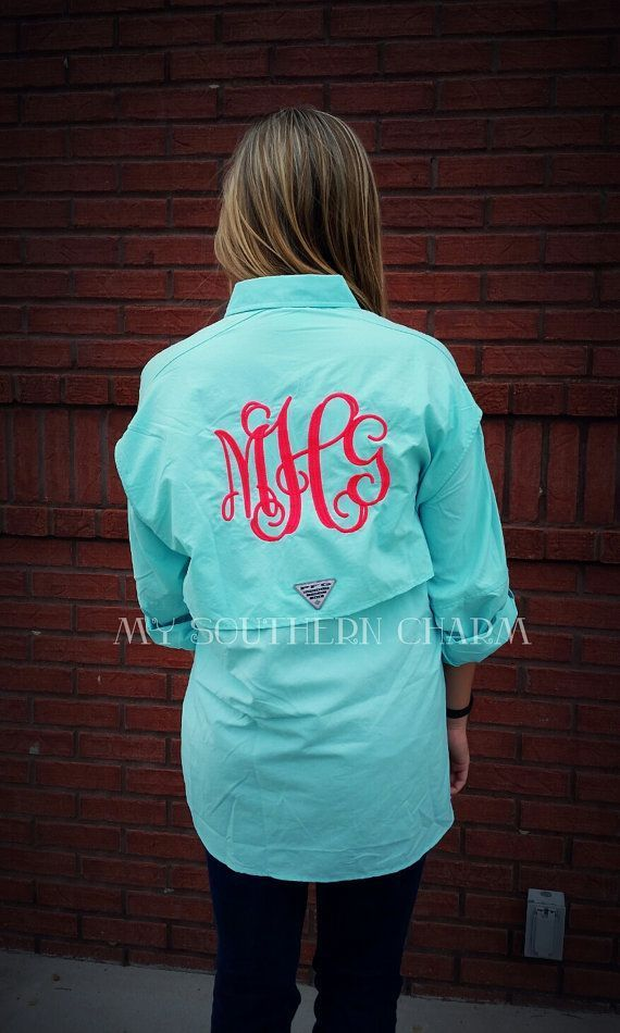 Our monogrammed Columbia PFG fishing shirts are perfect for beach cover ups or with wear with shorts for a preppy casual look. Each shirt comes with standard 6.5 monogram on back! Grab these for your next beach trip or lake day in the sun!  >> Shown is Aq