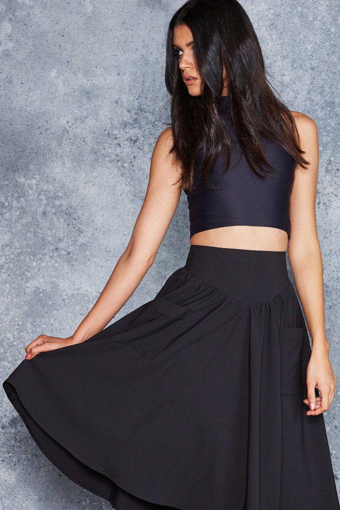 Black Yoke Midi Skirt ($89) by BlackMilk Clothing