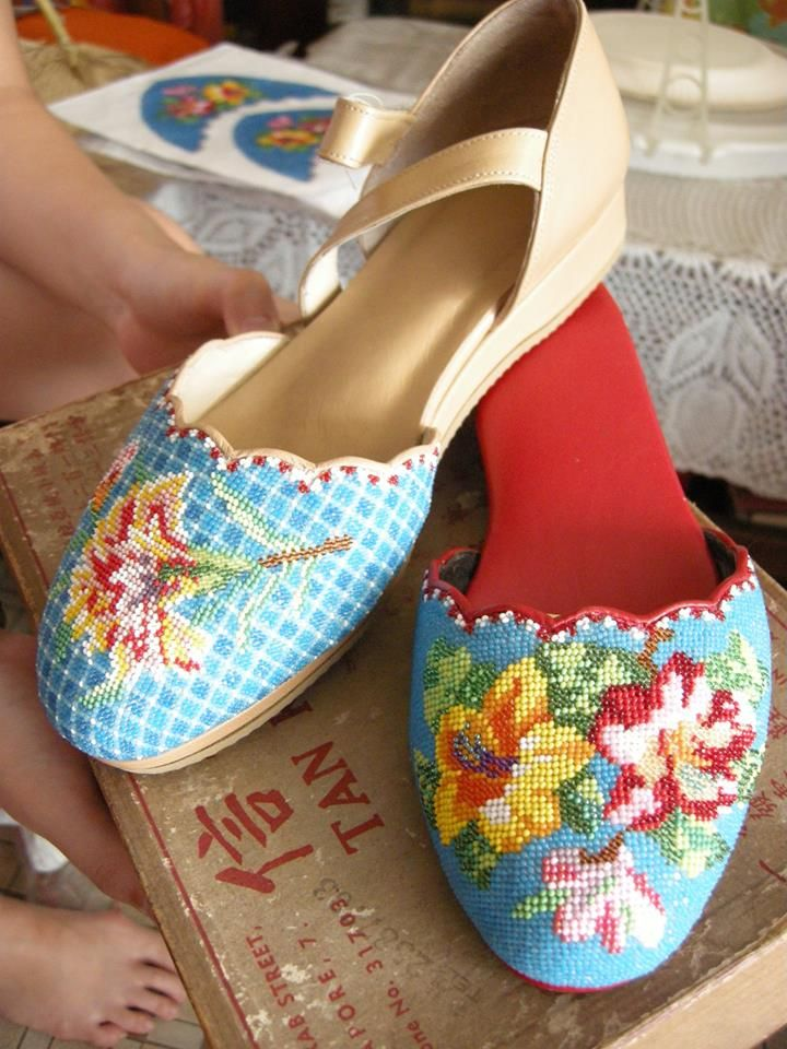 From Singapore comes the art of Kasut Manek - beaded shoes - and was an art that was dying out, but has been revived and given a modern look with new styles.  Thank you to Pearl Blay (whose mother was one of those who helped revive the art form) for sharing her article on the revival at http://www.beadinggem.com/2015/03/100-years-of-south-east-asian-nonya.html  Image courtesy of https://www.flickr.com/photos/taking5/galleries/72157623274163012/