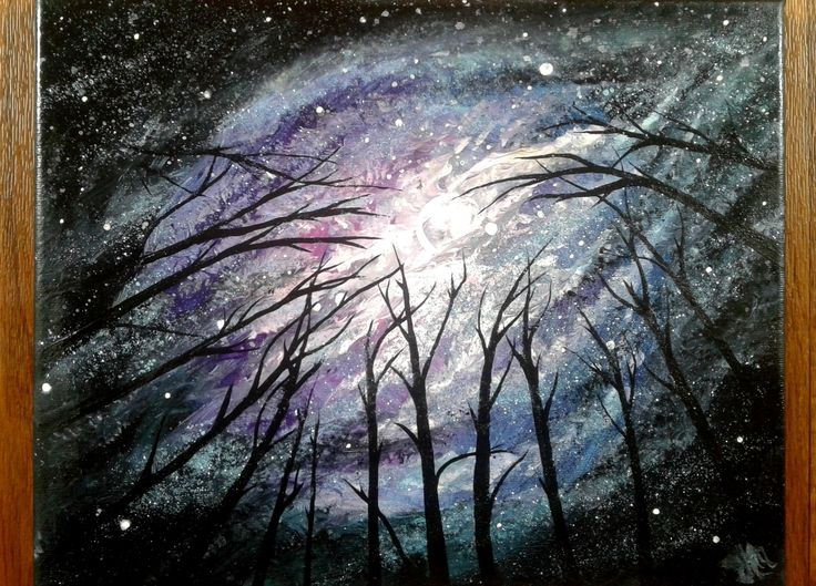 """""""Gazing"""" • Acrylic on canvas (glossed) • 9x12"""" Galaxy and trees~ 🌌🌻"""