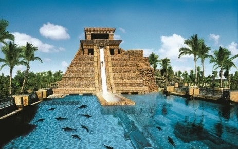 """Leap of Faith"" is a slide that cascades down a life-size replica of a Mayan temple at the Aquaventure Water Park at Atlantis Paradise Island in the Bahamas.: Buckets Lists, Resorts, Water Slides, Leap Of Faith, Places, Atlantis Bahama, Water Sliding, Sharks, The Bahama"