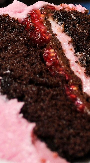 Dark Chocolate Cake with Raspberry Cream Cheese Frosting