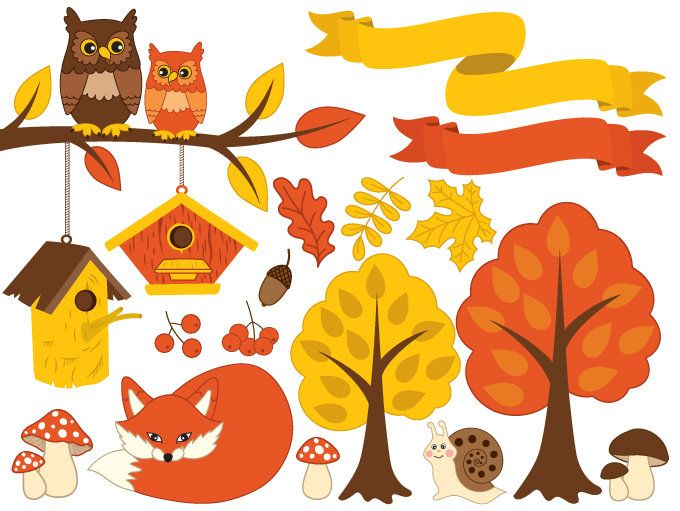 70% OFF SALE Autumn Clipart - Digital Vector Forest, Fox, Owl, Autumn, Tree, Ribbons, Fall Clip Art #thecreativemill
