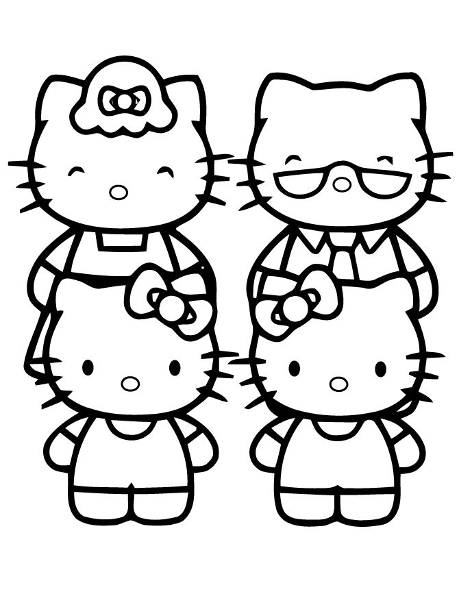 Hello Kitty Family Coloring Page