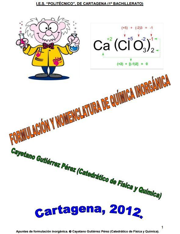Formulación y nomenclatura de Química Inorgánica (Politécnico Cartagena)