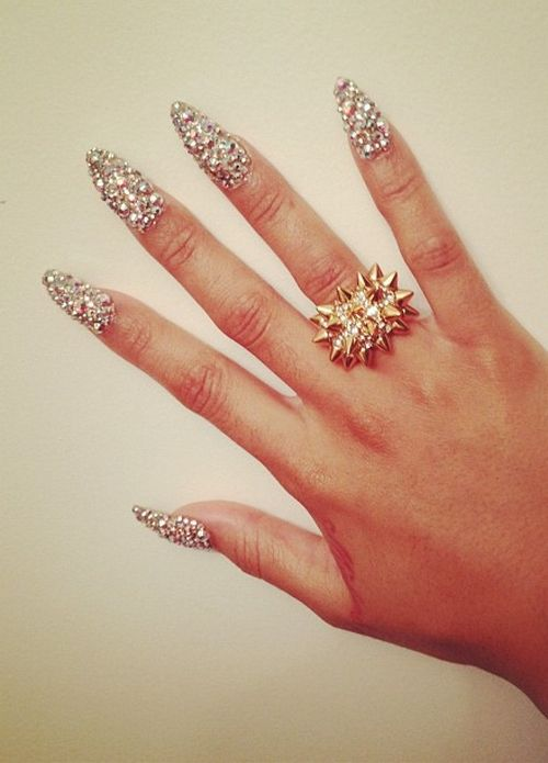 rhinestone nails, so cool but probably get annoyed with the length :(