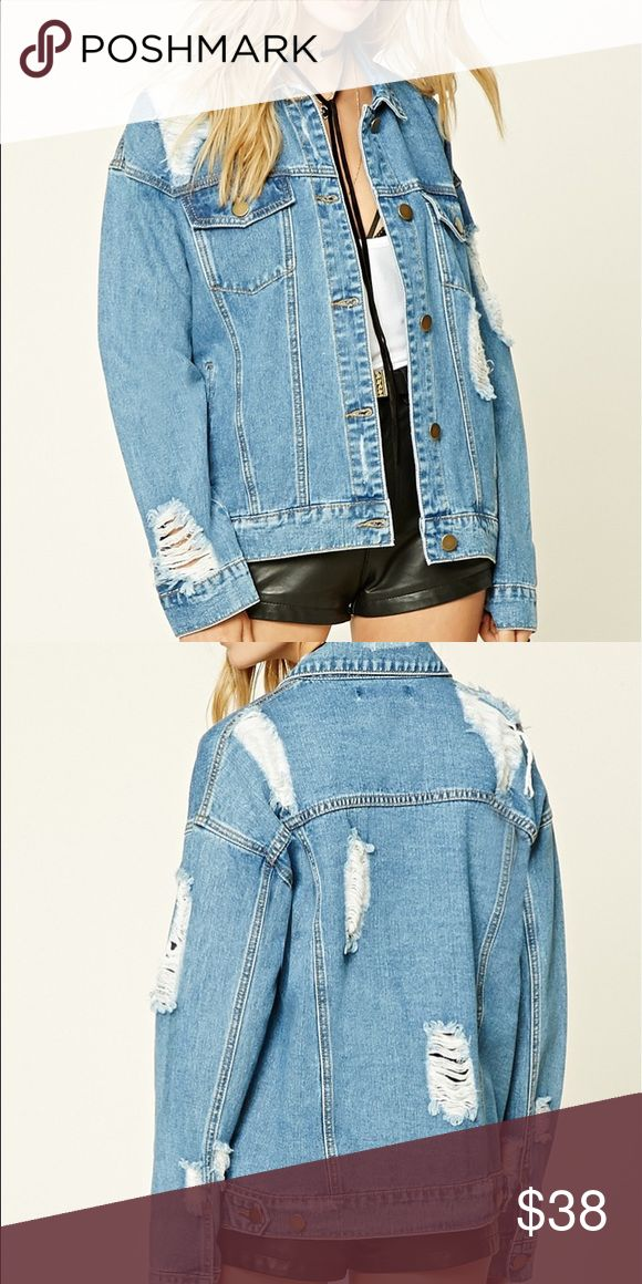 oversized distressed jean jacket distressed jean jacket / retail was 30.90$ / i can post my own pics if asked!! / oversized / nwt Brandy Melville Jackets & Coats Jean Jackets